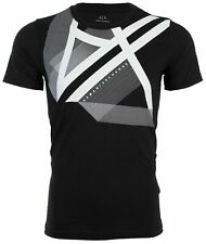 Armani Exchange Mens S/S T-Shirt RIGHT SIDE UP Designer BLACK Casual S-2XL $45