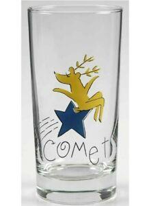 Pottery Barn Reindeer Comet Glass Tumbler 10 Oz. Christmas Retired