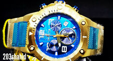 Invicta Speedway XL Blue Dial Swiss Parts Chronograph Gold Tone Bracelet Watch N