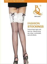Sexy Chic Ladies Fishnet Black Thigh Highs Stocking Lingerie Lace-up Top Hosiery