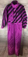 Vtg 80s 90s MISTRAL Women's 14 One Piece SKI SUIT Snow Bib Snowsuit Purple Black