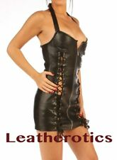 Fetish Leather Mini Dress with Lace Zip Front