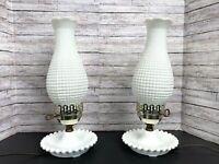 """Vtg Pair (2) Hobnail White Milk Glass Hurricane Lamps Boudoir Table 14"""""""