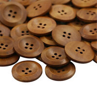 LOT 50pcs Wooden 4 Holes Round Wood Sewing Buttons DIY Craft Scrapbooking 25mm