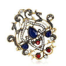 Noble Blue Vintage Rhinestone Brooch Pin Gifts For Lady Women Wedding Party