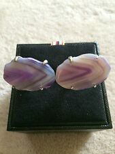 "Paul Smith ""LARGE AGATE SLICE STONE"" Cufflinks with Signature Swings"