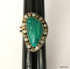 Vintage Ring MARKED ISRAEL 925 Sterling Silver Malachite Stone Jewelry lot i