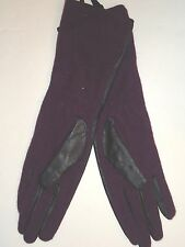 Ladies Long Genuine Leather Gloves,Purple/Black, S/M