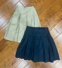 Lands' End Girls Set of two Uniform Pleated Skirts; Navy size 10, Khaki Size 14