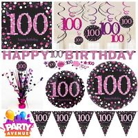 Pink Sparkling Celebration 100th Birthday Party Tableware Decorations Balloons