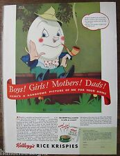 1938 Rice Krispies Humpty Dumpty Ad 10.5 x 14""