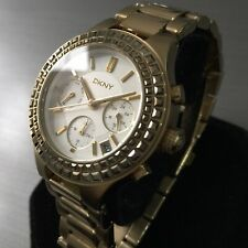 Ladies DKNY Designer Watch CHAMBERS NY2259 Gold Pvd Silver Dial Steel Genuine