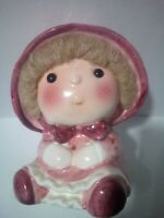 """Vintage DOLL with  HAIR Baby Planter Ardco Dallas Made in Japan 6.5"""" Tall CUTE."""