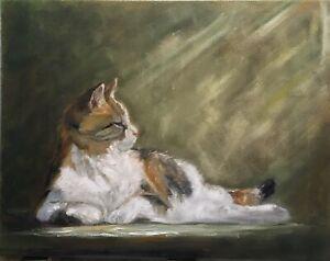 """Original oil painting, Animal, CALICO CAT 11x14"""" Schelp"""