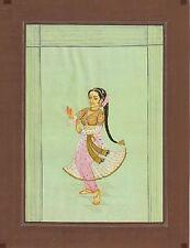 Indian Miniature Paper Watercolor Painted Dancing Girl Painting Rajasthani Art