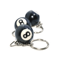 1 Pcs Lucky NO.8 Billiard Pool Keychain Snooker Table Ball Key Ring Gift  XC62