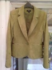 H & M JACKET. Olive Green Cotton Damask. Lovely Shape.Satin Trim.  Lined Eu 38