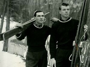 Vintage 50s Handsome Competitive US Ski Jumpers 7x9 Photo Gay - 24