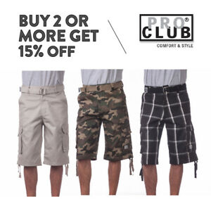 PROCLUB PRO CLUB MENS CASUAL CARGO SHORTS 5 POCKET CAMO PLAID SHORTS BIG TALL