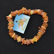 RAW GENUINE BALTIC AMBER BRACELET UNPOLISHED BEADS ADULT YELLOW HANDMADE ECO