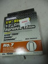 "SUREBONDER No 7 STAPLES 1/2"" 99012 box of 1000 Fits Arrow T2025"