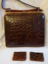 Crocodile skin & tortoise frame handbag Vintage 1940s