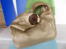 MICHAEL KORS ~ Gold Soft Pebbled Leather Shoulder Hobo Tote Bag Purse ~LOGO Used