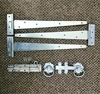 "Tee Hinge (3) 18"" 450mm Wooden Gate Fitting Kit Garden Gate Ironmongery Set Zinc"