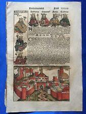 Altkoloriertes Blatt XXXIIII Schedel Weltchronik 1493 ANSICHT KORINTH & TIBERIAS