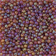 Miyuki Gouttes Perles de rocaille Matte transparent dark amber AB 3.4 mm 25 g tube (D93/8)