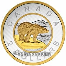 Canada 2015 Big Coins Series #6 Polar Bear $2 Toonie 5 Oz Silver Gold Plated Prf