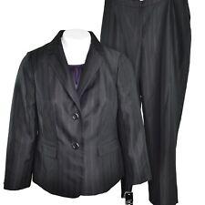 Le Suit Womens Plus Professional 3 Piece Pant Suit Size 14W Black Stripe NWT