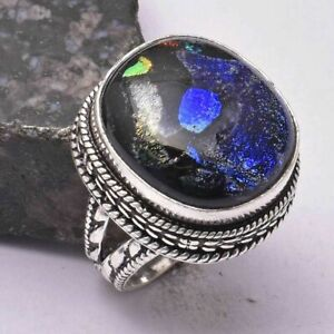 Fancy Diochroic Glass Handmade Antique Desgin Ring Jewelry US Size-7.5 AR 30945