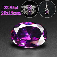 28.35ct 20x15mm VVS AAA Natural Purple Gem Stone Round Amethyst Cut Loose