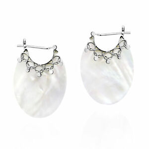 Iridescent Oval Shaped White Shell w/ Ornate Sterling Silver Huggie Earrings