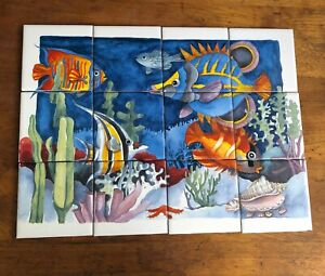 "Undersea Tile Fish Mural Bath Kitchen Backsplash 4"" Ceramic Tiles 16""x12"" C102"