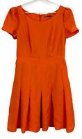 Tokito Womens Orange Puffed Sleeve A-Line Lined Dress Size 10