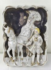 Vtg Japan Ceramic Figurine Wall Hanging Horse Carriage Southern Couple Gold Trim