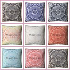 Indian Gold Silver Large Square Mandala Cushion Cover Ethnic Floor Pillow Decor