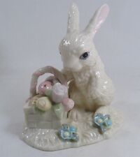 "Fancy Lenox Porcelain 5"" BUNNY With BASKET of colorful EGGS & FLOWERS, exc cond."