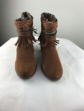 RUE 21 etc! Boots Brown Suede L 8/9 Lace Up Indian Decoration Womens