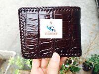Crocodile Leather Skin Men's bifold wallet brown VSSVD22
