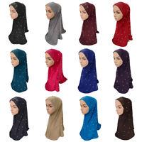 One Piece Muslim Hijab Islamic Crystal Hemp Scarf Amira Headscarf Women Hijab