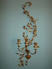 LARGE VINTAGE ITALIAN GILT METAL TOLE WALL SCONCE CANDLE HOLDERS 45""