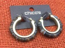 Chico's Earrings NWT Shell Heishe Rim Goldtone Locking Hoop Pierced