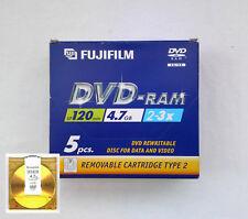 NEW PACK 5 FUJIFILM DVD-RAM 4.7GB Removable Cartridge Type 2 - P10DVRGE00A