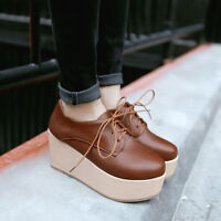 New Fashion womens lace up oxfords leisure wedge heel platform round toe US 4-11
