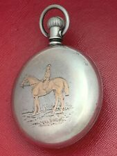 18 Size Pocket Watch Case - Nice! Rose Gold Horse & Rider - Beautiful Rare
