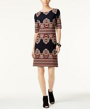 New(O7212-35) INC Short-Sleeve Printed Sheath Dress Deep Twilight Sz 16 $89.50
