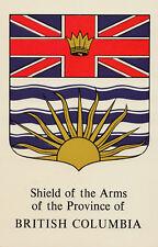 Shield of The Arms BRITISH COLUMBIA Canada Heraldic Postcard